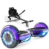 GeekMe Scooter électrique auto-équilibré avec Hoverkart, Gyropode 6.5 pouces, Hoverboard avec haut-parleur Bluetooth, lumières LED, cadeau pour enfant, adolescent et adulte