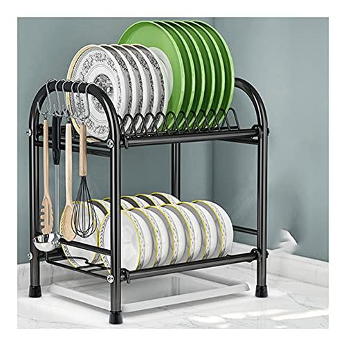 QYQS Talladora De Acero Inoxidable Escurreplatos para Muebles De Cocina Escurridor De Platos con 6 Ganchos 12 Bandejas 12 Tazones(Size:33x26x39cm,Color:Negro)