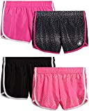 Body Glove Girls 4-Pack Athletic Gym Workout Yoga Dolphin Running Shorts, Polka Dots, Size 10