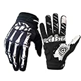 Skeleton Cycling Gloves Motorcycles Gloves Off-Road Vehicle MTB, Bicycle Gloves Shock Absorption Non-Slip Touch Screen Design,for Various Outdoor Sports (White1, L)