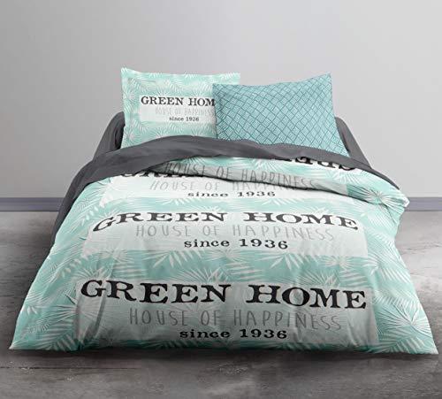 TODAY Enjoy Green Home-Parure HC3 : Housse de Couette 220x240 + 2 Taies d'Oreiller 100% Coton, COTON-57 Fils, Gris/Bleu, 220/240