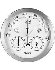 MAVORI® Väderstation analog för inomhus- och utomhusbruk med ram i rostfritt stål i modern design – bestående av barometer, hygrometer och termometer