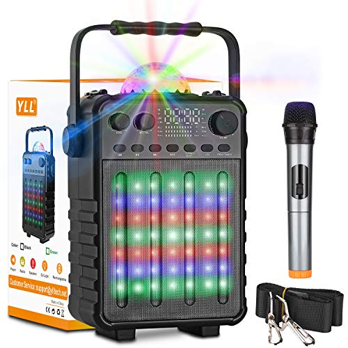 Karaoke Machine with Wireless Microphones, YLL Bluetooth Karaoke Speaker PA Sound System with Disco Lights for Home Party, FM, Recording, TF/USB Supported (Black)