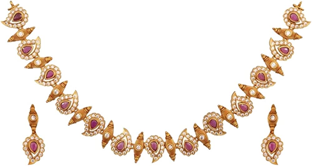 Tarinika Niranjana Antique Gold-Plated Indian Jewelry Set with Necklace and Earrings - White Red