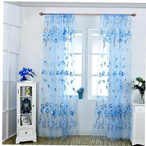 Las Cortinas De Ventana Escarpadas Voile Cortinas De Tul Tulipán Impresos Cortinas para La Sala De Estar Dormitorio Casa Decoración Azul 100 * 200cm