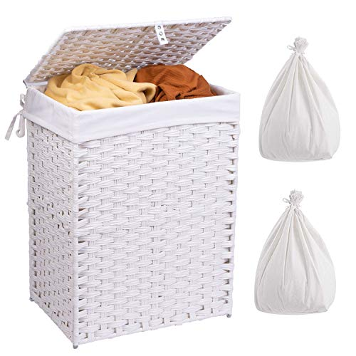 Crehomfy Laundry Hamper with Lid and 2 Removable Washable Liner Bags Synthetic Rattan Wicker Handwoven Laundry Basket with Handle Collapsible Dirty Clothes Hamper for Laundry Room Bedroom White