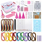46Pcs Paper Quilling Kit with 1800 Paper Strips, DIY Quilling Art Handcrafts Set, All-in-one Quilling Tools and Supplies Kit for Beginners with Handled Organizer Storage Box