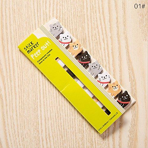 Notas y pegatinas bonitas de papelería japonesa y material de papelería coreano, marcapáginas de animales 12.5×5cm 01#