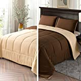 Exclusivo Mezcla Lightweight Reversible 2-Piece Comforter Set for All Seasons, Down Alternative Comforter with 1 Pillow Sham, Twin Size, Brown