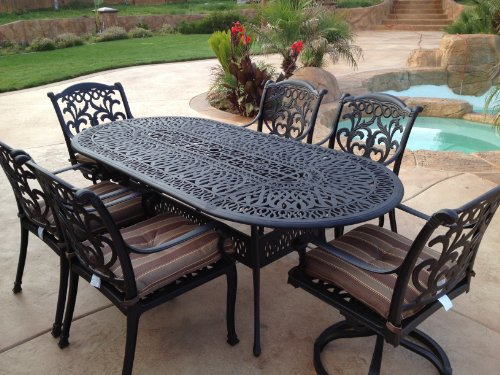 "Hot Sale Heritage Outdoor Living Flamingo Cast Aluminum 7pc Outdoor Patio Set with 42""x87"" Oval Table - Antique Bronze"