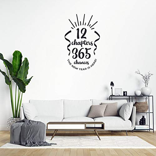 Inspirational Quote Wall Sticker 12 Chapters 365 Chances The New Year is Here PVC Wall Decal Home Wall Decorations