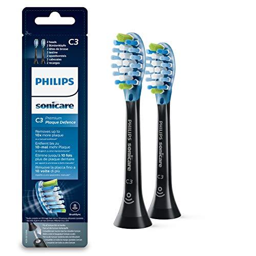 Philips Sonicare Original Aufsteckbürste Premium Plaque Defence HX9042/33, 10x mehr Plaqueentfernung, RFID-Chip, 2er Pack, Standard, Schwarz-Blau