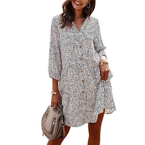 Vestido de Mujer con pequeño Floral Primavera y Verano Moda Delgado Casual Simple y cómodo Falda de Manga Tres Cuartos Large