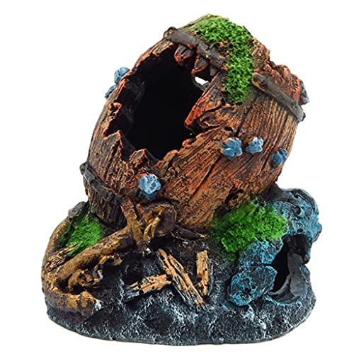N\A Acuario resina decoración roto barril escondites piedra cueva Betta Fish Tank Accesorios para ermitaño cangrejos cangrejos cangrejos Guppy acuario decoraciones pequeño tanque