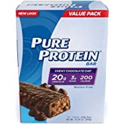 Pure Protein--High Protein Bar Chewy Chocolate Chip Multipack--Protein Bars--20 Grams of Protein per Bar--Gluten Free--6-1.76-Ounce Bars