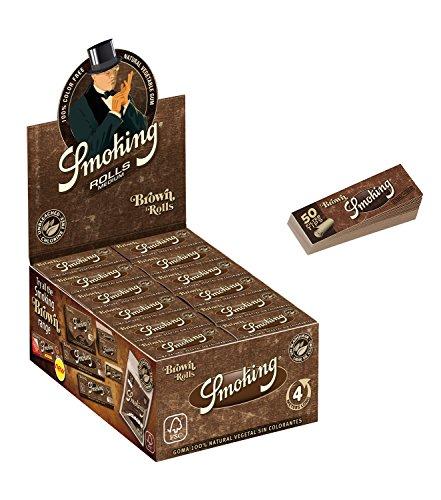 Smoking Brown Rolls Slim - 1 Box mit 24 Rollen - Papers Rolls Brown mit Smoking Heftchen 2 x 33 Filtertips Original®