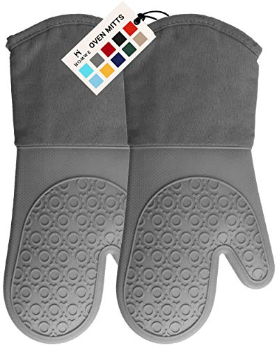 HOMWE Professional Silicone Oven Mitt, Oven Mitts with Quilted Liner, Heat Resistant Pot Holders, Flexible Oven Gloves, Gray, 1 Pair, 13.7 Inch