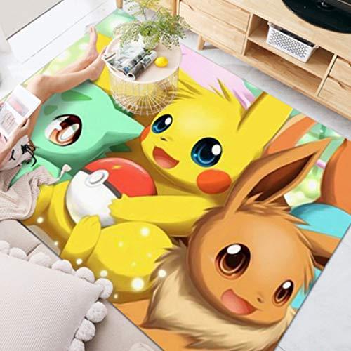 Alfombra Alfombrillas De Dormitorio Nórdico Manta De Noche Para Habitación De Bebé Alfombrillas De Juego Para Habitación De Niños Dibujos Animados Tres Pequeños Pokémon Decoración Del Hogar Nórdico