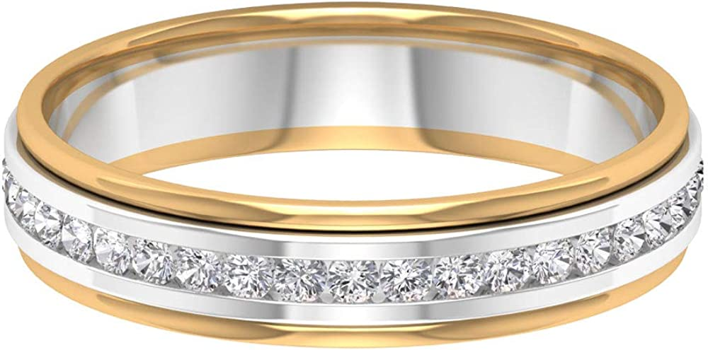 Two New mail order It is very popular Tone Ring Band D-VSSI Wedding Moissanite Sett Channel