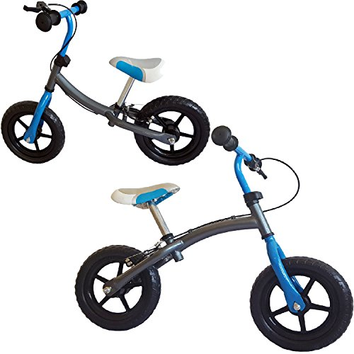 """mitwachsendes Kinder Laufrad, Doppelfunktionsrahmen, mit Handbremse, 12"""", silbergrau-blau, für Kinder ab 2 Jahren"""