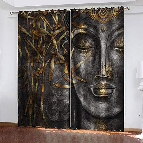 Gzclian Gardine Verdunklungsgardine Buddha-Figur, 2 Stück Vorhänge Blickdicht mit Ösen für Schlafzimmer Geräuschreduzierung 228x117cm(HxB)