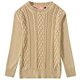 Camii Mia Big Girls' Long Sleeve Pullover Knitted Crewneck Cable Sweater (X-Large(18), Beige)