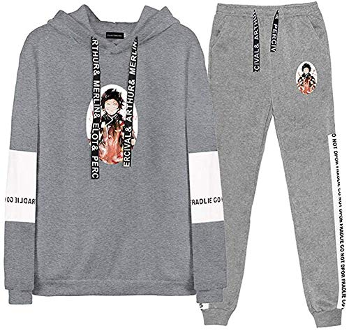 Fingertoys Demon Slayer: Kimetsu No Yaiba trui met capuchon & broek pak set, cartoon anime-outfits vrije tijd sweatshirt en joggingbroek pak voor training, fitness, hardlopen, training en nog veel meer