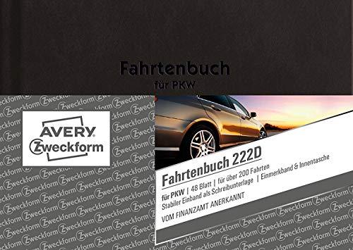 AVERY Zweckform 222D Fahrtenbuch, DIN A6, steuerlicher km-Nachweis, 48 Blatt (3, DIN A6)