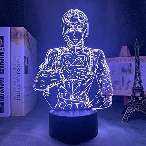 Luz nocturna 3D con control remoto de 16 colores Luz de humor para niños creativos Fuente de luz LED Regalo de Navidad-Personajes de animación japoneses