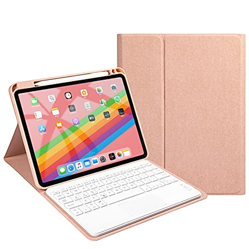 WYZDQ Caja del Teclado con touchpad para iPad Pro 11 Pulgada 2021, Cubierta de Teclado Protector Delgada inalámbrica Desmontable con Soporte para el Soporte de lápiz,Rosado