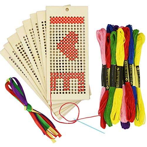 8Pcs Art and Crafts Sewing Wooden Bookmark Cross Stitch Embroidery Beginner Kit + 12pcs Sewing Threads for Kids and Teens(Not Include Instructions)
