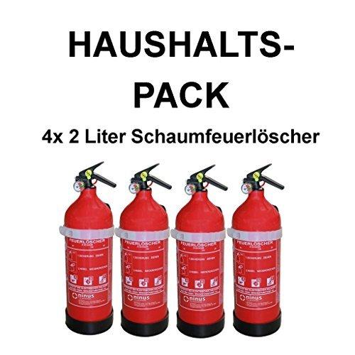 4x Fettbrandlöscher ninux ABF Feuerlöscher Schaum 2 Liter mit Halterung und Manometer
