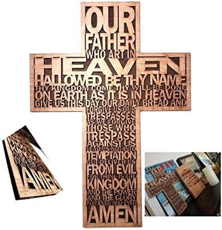 Inspired life Ideas Lords Prayer Wood Christian Wall Cross Hand Made Bible Faith Wall Decor product image
