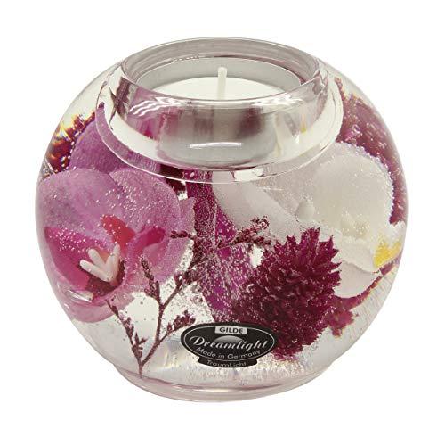 Dreamlight Moderner Teelichthalter Windlichthalter Yamila aus Glas Durchmesser 9 cm *Exklusive Handarbeit aus Deutschland*
