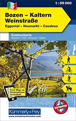 Italien Outdoorkarte 03 Bozen-Kaltern Weinstraße 1 : 35.000: Eggental, Neumarkt, Cavalese. Wanderwege, Radwanderwege, Nordic Walking, Skilanglauf, Skitouren (Kümmerly+Frey Outdoorkarten Italien)