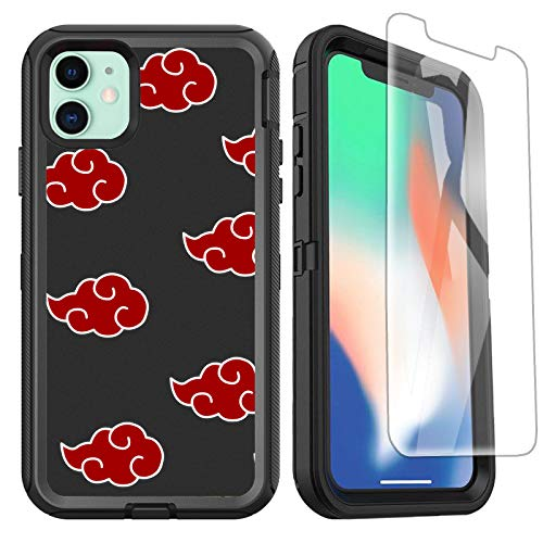 OTTARTAKS iPhone 11 Case with Screen Protector, Anime iPhone 11 Case for Boys Men, 3-in-1 Heavy Duty Full-Body Shockproof Protection Cover for iPhone 11 6.1Inch, Red Cloud