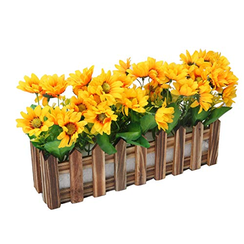 Flikool Sunflower Fiore Artificiale con Scuro Recinto Finta Girasole Piante Artificiali in Vaso Simulazione Potted Bonsai Ornamenti Decorazioni per Casa Balcone Festa
