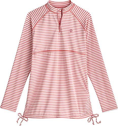 Coolibar UPF 50+ Girl's Lawai Ruche Swim Shirt - Sun Protective (X-Large- Seashell/White Stripe)