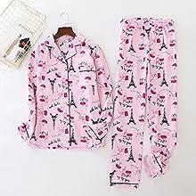 wsxcfyjh Pijamas Camisón Conjunto De Pijamas De Leopardo Vintage para Mujer, Ropa De Dormir De Algodón Cepillado, Pijamas De Franela De Moda para Mujer, XL Vintage-J