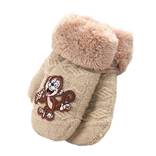 Baby Winter Warm Mittens,ChainSee Kids Boys Girls Cute Thicken Gloves (Beige)