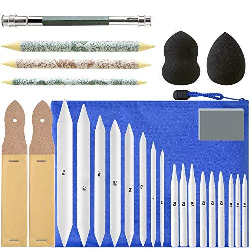 Mignor 30 Stück Papierwischer Set, 23 Blending Stumps und Tortillionen mit 2 Schleifpapier Schärfpads Skizze Zeichnen DIY Werkzeuge
