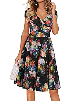oxiuly Women s Vintage V-Neck Floral Casual Party Cocktail A-Line Dress OX233  2XL Black