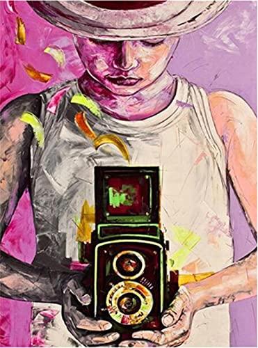 DIY 5D Kits de pintura diamante cuadrado taladro completo por números para adultos Chica de la cámara Bordado Suministro punto de cruz Imágenes Artes Artesanía Decoración pared,Square Drill,80x100cm