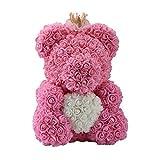 Cikuso Cadeaux Souvenirs du Festival 25 Cm Jouet Rose Artificielle PE Ours Rose Créatif à Petite Amie Fausses Fleurs pour Cadeau d'amour Couronne Rose Et Blanc en Forme De C?ur