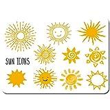 Wdoci Antideslizante Alfombra De Baño,Vector Dibujado a Mano Set Diferentes Soles,Alfombra de Cocina Alfombra Mascota,Alfombras de Ducha 80x60cm