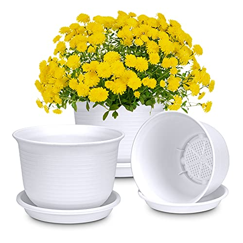 Vaso per piante, in plastica, con sottovaso per fiori e piante, diametro 18 cm (3 pezzi, bianco)