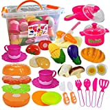 FUNERICA Set of Pretend Food and Dishes Cookware Playset for Kids - Includes Play Food - Play Dishes - Cutting Play Vegetables - Mini Pots and Pans - Knife and Cutting Board