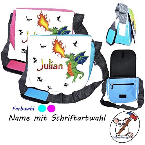 grüne Drachen Kindergartentasche mit Name/Schriftartwahl/Kindertasche/Kindergarten/Kindergerechte Tasche/Tasche mit Name/Personalisierte Tasche/grüner Drache