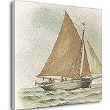 Cartel de pesca de barco de vela estilo nórdico impresiones arte de la pared lienzo pintura modular cuadros para niños dormitorio decoración del hogar marco-estilo1 20 × 50 cm (50 × 50 cm)