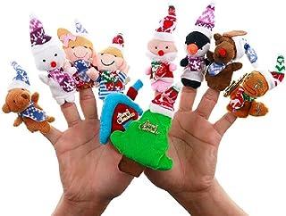 Hengyuan Ensemble de marionnettes de Doigt de Noël de Dessin animé, Jouets éducatifs de poupées de Doigt de père Noël Mign...